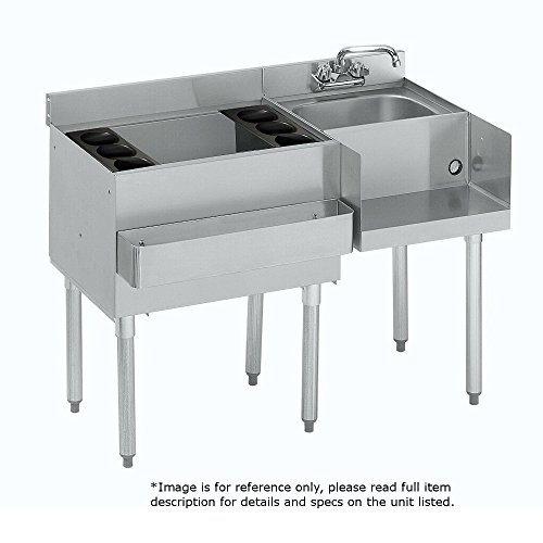Krowne Metal 18-W48L-7 1800 Series Underbar Ice BinCocktail Blender Station 48W x 225D w 30W 7-Circuit Cold Plate Ice Bin on Left