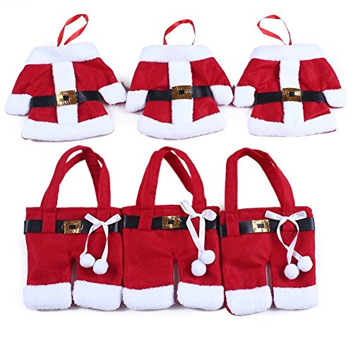 Warmstor 6PCS Christmas Decoration Santa Claus Tableware Silverware Holder Dinner Table Decor Knife and Fork Bags