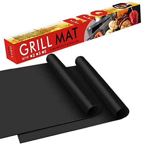 BBQ Grill Mat - 100 Safe Non Stick BBQ Grill Mat Easy to Clean and Reusable Perfect for Charcoal Electric and Gas Grill Set of 2 16x13