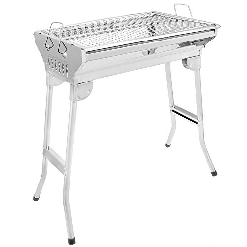 Kemanner Portable BBQ Grill Foldable Stainless Steel Charcoal Grill Yakitori Grill Kabab Grill US STOCK Foldable M