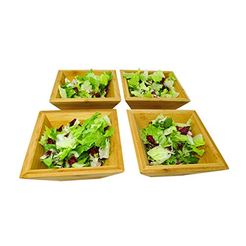 6 Bamboo Wood Square Salad Bowl Set by Trademark Innovations Set of 4