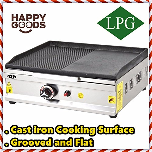 20   50 cm  PROPANE GAS Commercial Kitchen Equipment GROOVED AND FLAT CAST IRON SURFACE Countertop Flat and Grooved Top Grill Restaurant Cooktop Manual Griddle