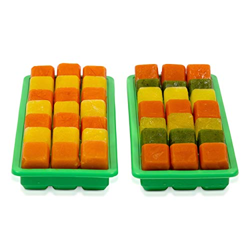 Set of 2 Silicone Ice Cube Trays With Lids Makes 21 Ice Cube Each Pair of Silicone Molds For Making Ice Cubes Food Grade Silicone BPA Free Ice Trays - Color Green