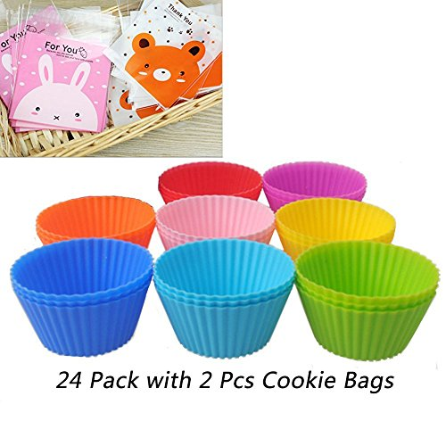 24 pcs Reusable Nonstick Silicone Baking Cups Cupcake Liners Muffin Molds Cups Chocolate Holders  8 Different Colors   2 pcs Cookie OPP Bags for Free