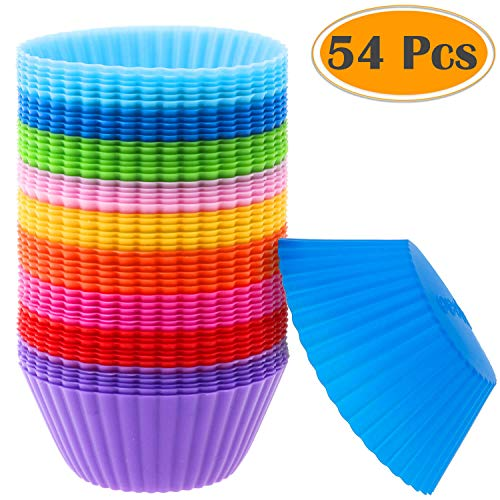 Silicone Muffin Cups Selizo 54 Pcs Silicone Cupcake Baking Cups Reusable Muffin Liners Cupcake Wrapper Cups Holders for Muffins Cupcakes and Candies