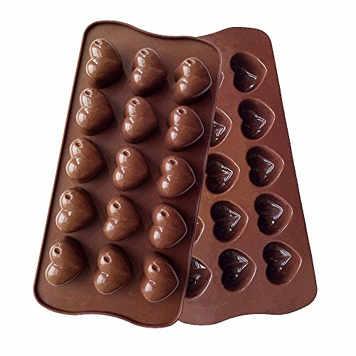2-Pack Mini Heart Candy Molds - MoldFun Love Silicone Tray Mold for Valentines Day or Bridal Shower Chocolate Wine Gummy Crayon Brownie Cookie Jello Mini Soap Bath Bomb Ice Cube