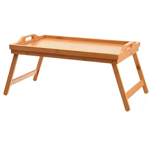 Home-it Bed Tray table with folding legs and breakfast tray Bamboo bed table and bed tray with legs
