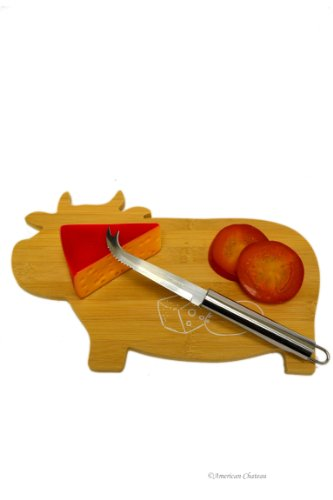 Bamboo Cow Shaped Cheese Platter Cutting Board with Stainless Steel Knife