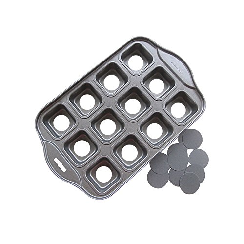 Startony Non Stick Muffin Cupcake Molds 12 Cups Baking Pan Loose Base Tray Dessert Pan Square