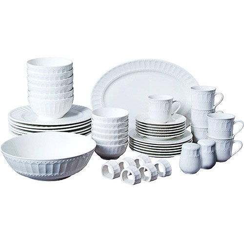 46-piece Dinnerware and Serveware Set Fine China Set for 6 People