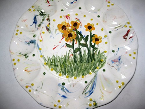 USA hand painted marbelized with yellow sunflower and daisies deviled egg platter