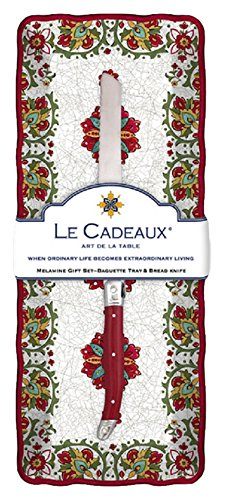Le Cadeaux Allegra Melamine Baguette Tray and Laguiole Bread Knife Gift Set Red