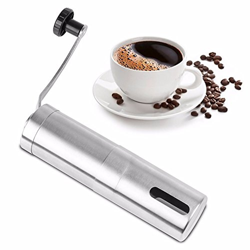 Stainless Steel Manual Coffee Grinder Adjustable Conical Ceramic Burr Precision Brewing Brushed Stainless SteelBest Portable Hand Coffee Bean Mill for Travel Camping Hand Crank