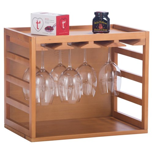Elegant Home Fashions Counter Top Wine Glasses Cage Rack Storage Cabinet