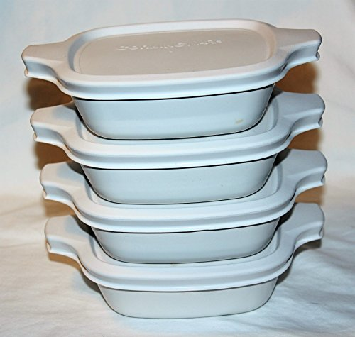 Vintage Corning Ware White Individual Casseroles 1 34 Cup Petites Set of 4