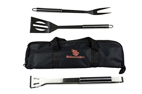 Barbecue Grill Tool Set - 3 Piece BBQ Grilling Utensil Kit Including Stainless Steel Spatula Fork and Tongs with Bonus Carrying Case