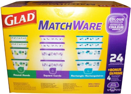 GladWare Glad matchware food storage containers variety pack including easy color match lids plus 4 dressing cups as a bonus 28 total pieces