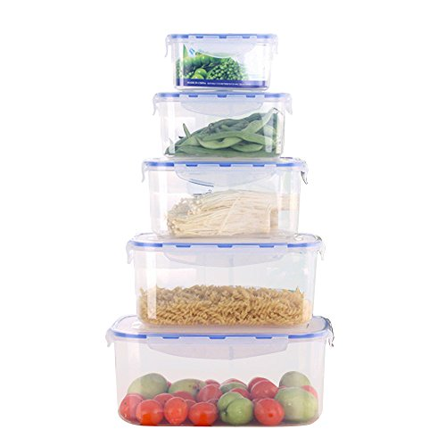 Kekow BPA-Free Clear Plastic Airtight Food Storage Containers Set of 5