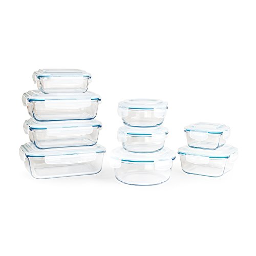 Premium Glass Food Storage Containers 18-Piece Set Airtight Lids and Oven Safe by Neoflam
