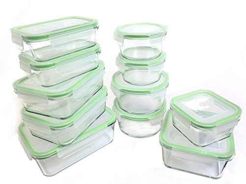 Kinetic 55043 22 Piece Glassworks Series Food Storage Container Set Clear