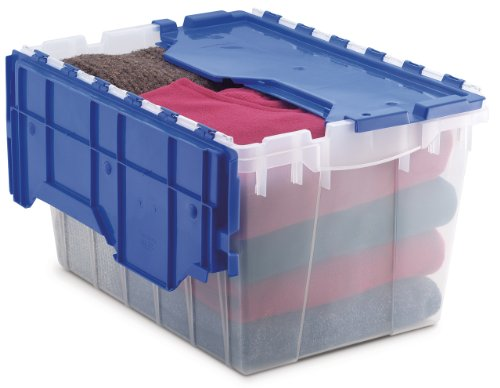 Akro-Mils 66486 CLDBL 12-Gallon Plastic Storage KeepBox with Attached Lid 21-12-Inch by 15-Inch by 12-12-Inch Semi Clear