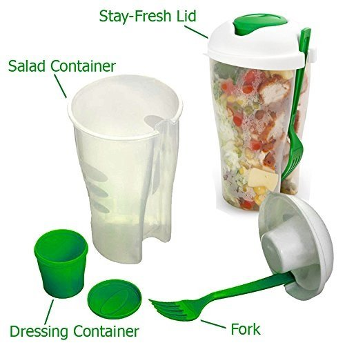 Clever Home Fresh Salad Container To Go Serving Cup with Dressing Container and Fork White and Green - Set of 2