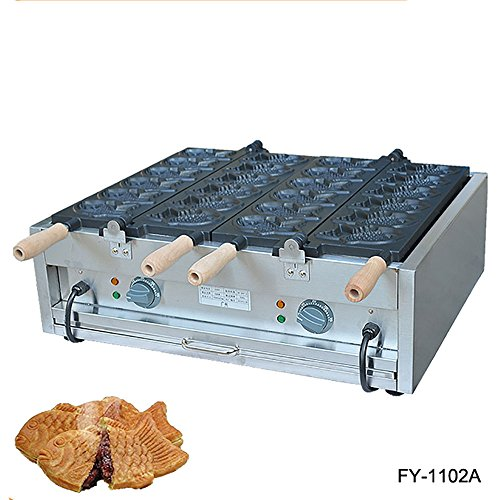 Commercial Nonstick 110V 220V Electric 12pcs Taiyaki Fish Waffle Maker Iron Machine