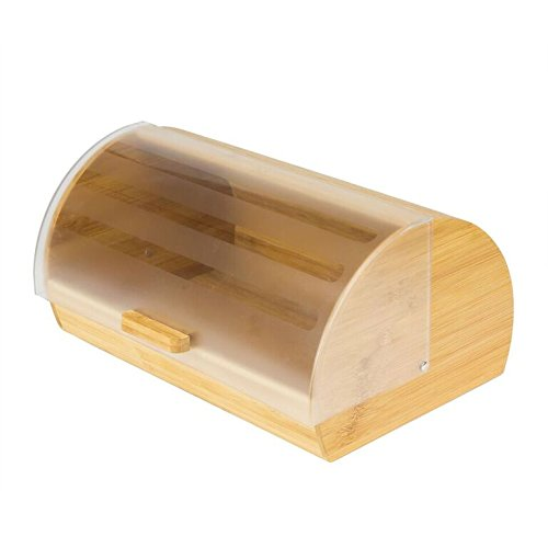 Intriom Bamboo Bread Box Storage Acrylic Transparent Glide Cover Kitchenware