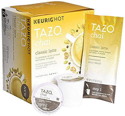 Tazo Chai Classic Latte Tea 6 Keurig K-Cups  6 Froth Packets