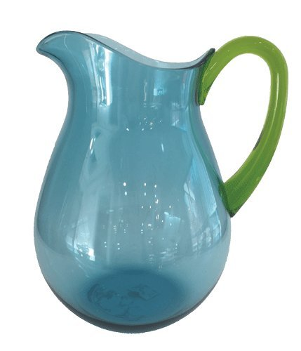 Water Pitcher Plastic Pitcher Clear Looks Like Glass Pitcher 64oz Turquoise Blue Handle
