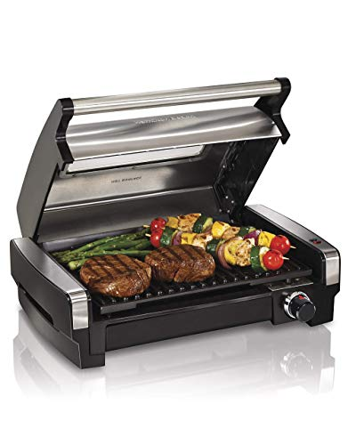 Hamilton Beach 25361 Electric Indoor Searing Grill with Removable Easy-to-Clean Nonstick Plate Viewing Window Stainless Steel Renewed