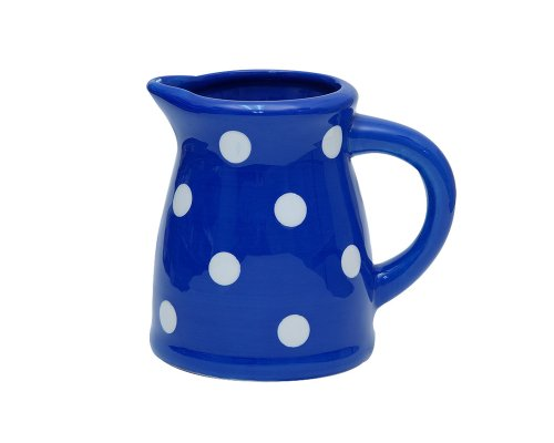 Terramoto Ceramic Polka Dots 5-Inch 20-Ounce Small Pitcher White on Royal Blue