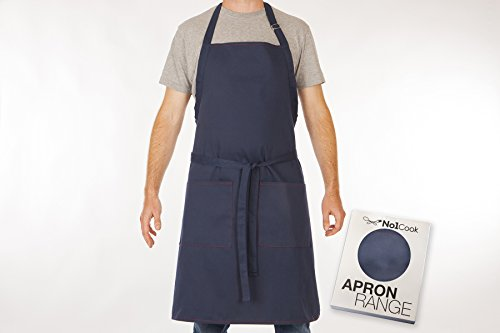 Cooking Apron by No1Cook - Professional comfortable blue chef apron for men and women - Bib apron with pockets and adjustable neck - Suitable for plus size - perfect grilling apron