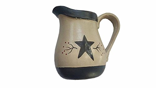 9 Tan Porcelain Pitcher With Star jug Primitive Decor