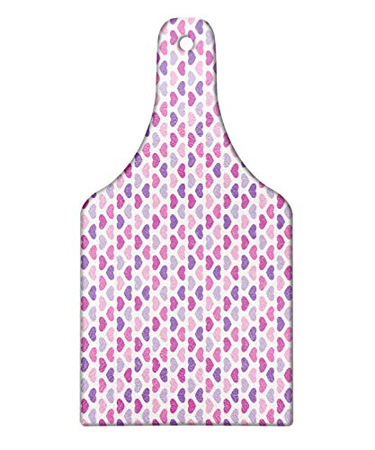 Lunarable Pink and Purple Cutting Board Romantic Heart Shapes Lovers Valentines Grunge Graphic Pastel Color Decorative Tempered Glass Cutting and Serving Board Wine Bottle Shape Multicolor