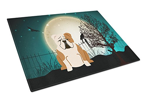 Carolines Treasures BB2315LCB Halloween Scary English Bulldog Fawn White Glass Cutting Board Large Multicolor