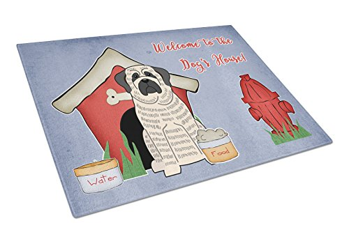 Carolines Treasures BB2770LCB Dog House Collection Mastiff Brindle White Glass Cutting Board Large Multicolor