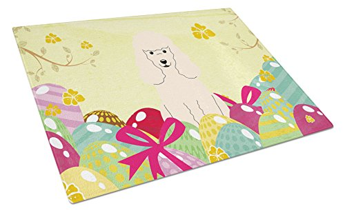Carolines Treasures Easter Eggs Poodle White Glass Cutting Board Large Multicolor