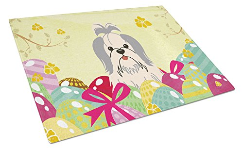 Carolines Treasures Easter Eggs Shih Tzu Silver White Glass Cutting Board Large Multicolor