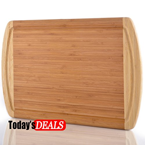 Comllen Extra Large Bamboo Cutting Board 18 x 13 Eco-Friendly Thick Strong Bamboo Kitchenware