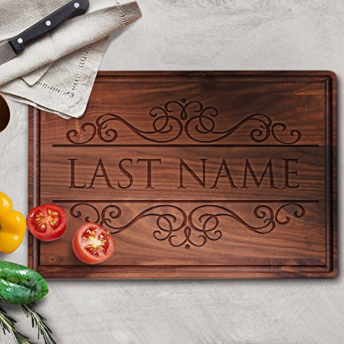 P Lab Personalized Cutting Board Custom Engraved Cutting Board with Juice Drip Groove Christmas Gift Wedding Gift Anniversary Gift Housewarming Gift 11 x 17 x 1 Walnut Large Rectangular M