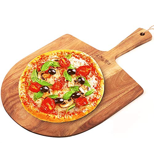 ESSENNT Pizza Peel Wood 14 inch Natural Acacia Homemade Baking Bread Cake Peeler Cheese Board Serving Tray