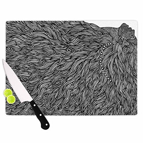 KESS InHouse BarmalisiRTB Bushy Black White Digital Cutting Board 115 x 1575 Multicolor