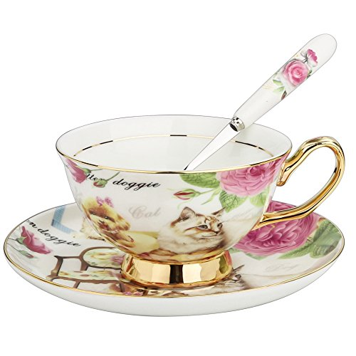 ARTVIGOR Dog and Cat Printed New Bone China Cup and Saucer Set with Spoon Drinkware Set for Coffee and Tea