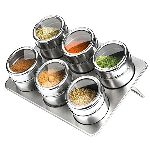 Magnetic Stainless Steel Spice Storage Seasoning JarsClear Top Lid with Sift or PourRound Storage Spice Rack set of 6