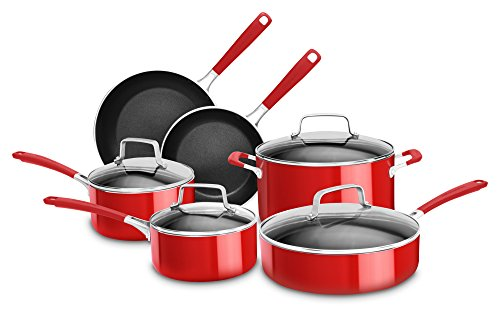KitchenAid KC2AS10ER 10 Piece Aluminum Nonstick Set Empire Red Large
