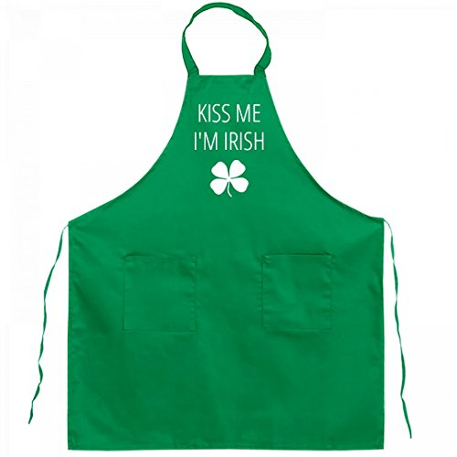 Kiss Me Im Irish Green Apron Full Length Kelly Green Bib Apron