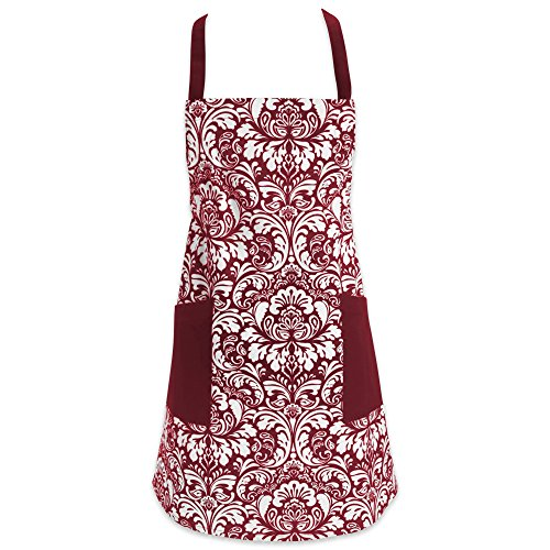 DII Cotton Adjusatble Women Kitchen Apron with Pockets and Extra Long Ties 375 x 29 Cute Apron for Cooking Baking Gardening Crafting BBQ-Damask Wine