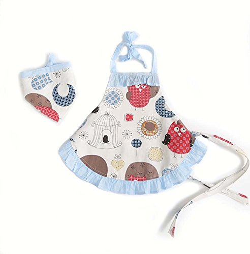CRB Childrens Bakeware Chef Owl Girls Toddler Kids Apron with Matching Cute Headscarf Outfit Set 3T to 4T Blue Owl