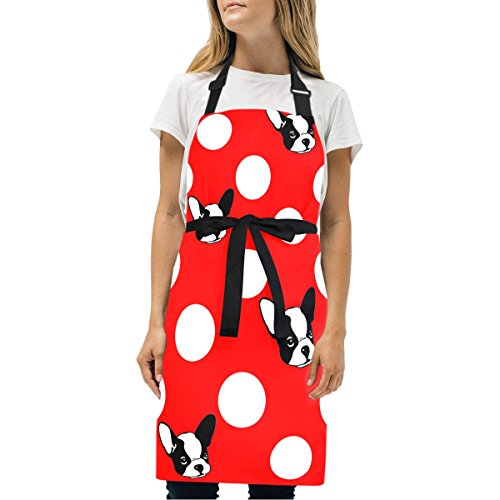 Naanle French Bulldog Dog On Red Polka Dot Kitchen Chef Cooking Salon Aprons for Women Men Vintage Pinafore Apron Dress